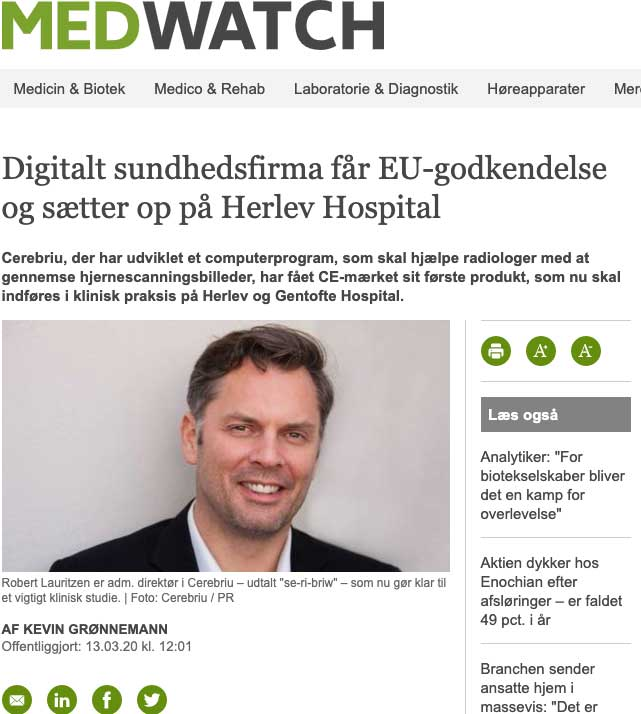 Snippet of MedTech article about how Cerebriu gets EU approval and sets up at Herlev Hospital